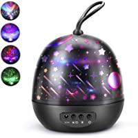Night Light Projector, SSLHONG 4 in 1 LED Starry Moon Ocean Wave Projector Lamp 360° Rotating 8 Color Modes Baby Kids Nursery Lights (Black)