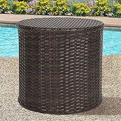Best Choice Products Outdoor Wicker Rattan Barrel Side Table Patio Furniture Garden Backyard Pool
