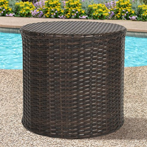 Best Choice Products Outdoor Wicker Rattan Barrel Side Table Patio Furniture Garden Backyard Pool (Wicker Side Table Outdoor)