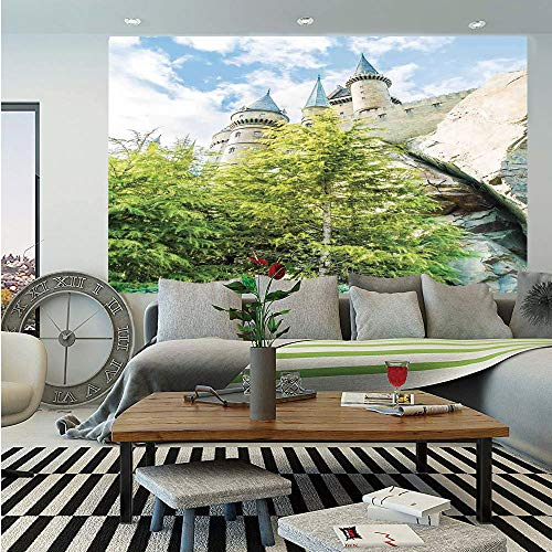 (Wizard Wall Mural,Witchcraft School and Wizard Castle in Woods Replica in Japan Picture Print,Self-Adhesive Large Wallpaper for Home Decor 55x78 inches,Green Blue Beige)