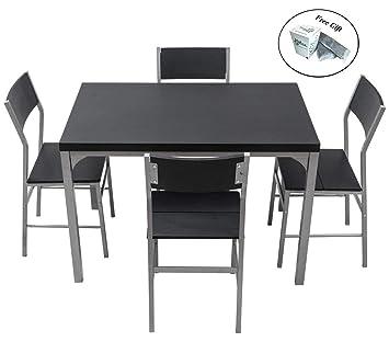 CWY Juego de Mesa de Comedor y sillas de Madera y Metal de 5 ...
