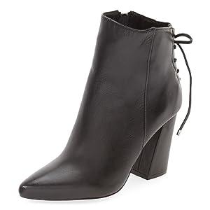 FSJ Women Vintage Retro Block Heel Ankle Boots with Side Zipper Lace Up Booties Size 5 Black