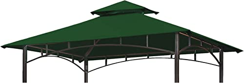 Eurmax 5FT x 8FT Double Tiered Replacement Canopy Grill BBQ Gazebo Roof Top Gazebo Replacement Canopy Roof Forest Green