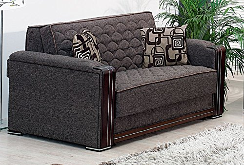 BEYAN Oregon Collection Chenille Upholstered Convertible Sleeper Loveseat with Storage, Solid Wood Frame, and Steel Innersprings, Grey