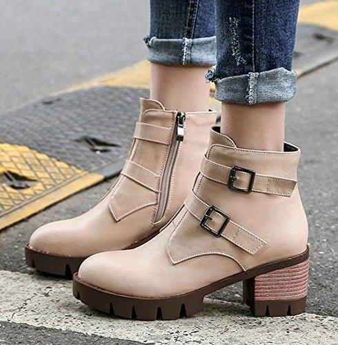 Aisun Femme Vintage Bout Rond Côté Fermeture À Glissière Boucle Sangle Plate-forme Bloc Talon Moyen Chaussons Chaussures Beige