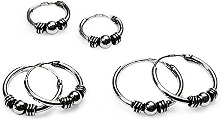 10mm Bali Ball Hoops Tiny Sterling Silver Hoops Oxidized Bali Hoops Cartilage Hoops Sterling Silver Bali Hoops