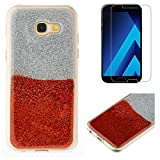 For Samsung Galaxy A3 2017 A320 Glitter Case with Screen Protector,OYIME Luxury Shiny Design Ultra Thin Slim Fit Soft Silicone Rubber Bumper Scratch Resistant Protective Back Cover - Red