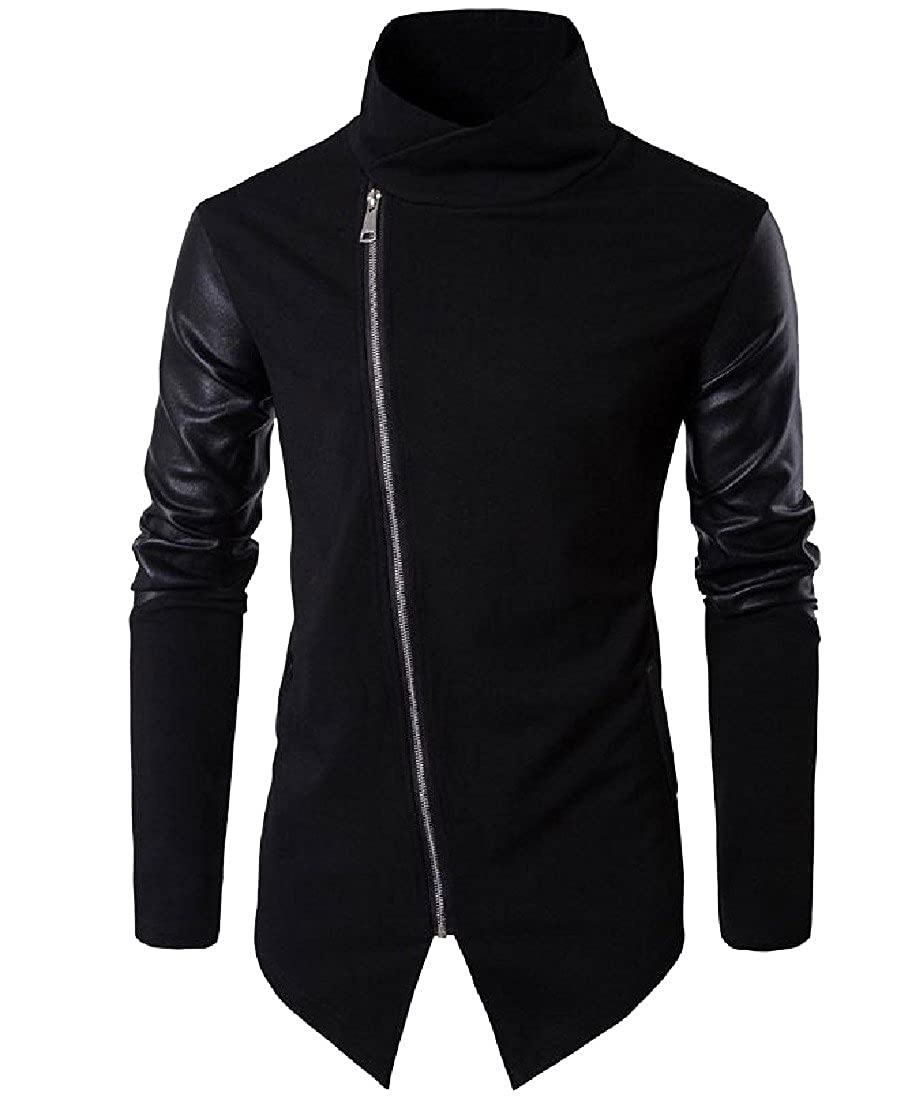 Sexybaby Mens Fine Cotton Patched Leather Oblique Zipper Knitwear