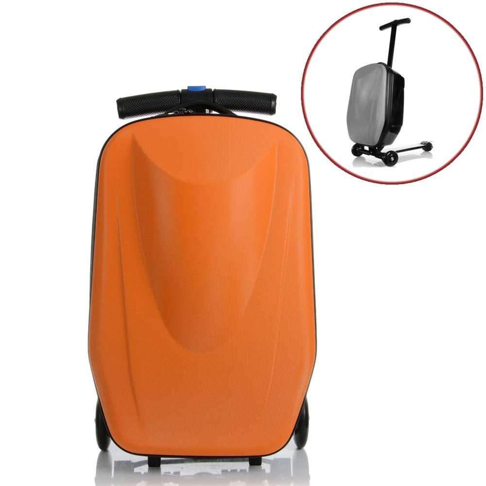 20インチロックスクーター荷物アルミスーツケース付きホイールスケートボードローリング荷物旅行トロリーケース (色 : オレンジ) B07QZBNGTT オレンジ
