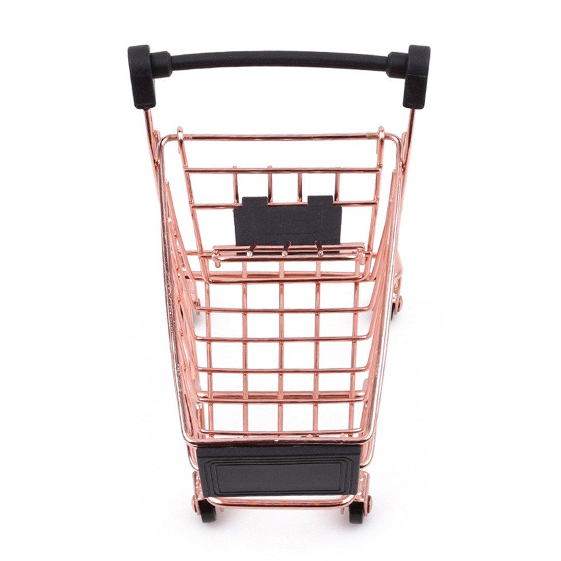 Yesiidor Mini supermarch/é Shopping Cart chariot utilitaire Mode Coffre de rangement chariot pour animal domestique Oiseau Parrot Hamster jouet Fer dor/é As description