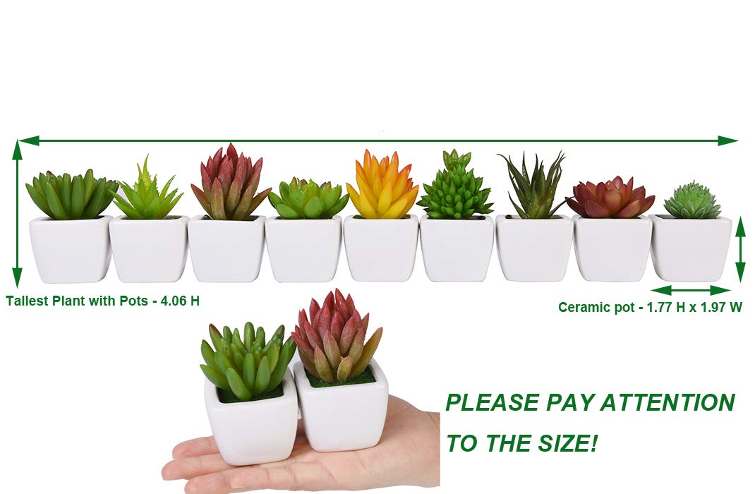 Potted Fake Succulents with Ceramic Pots CHICHIC Set of 9 Mini Assorted Artificial Succulent Plants Fake Aloe Cactus Cacti with Planters Decorative Faux Succulents Small Fake Plants for Decoration