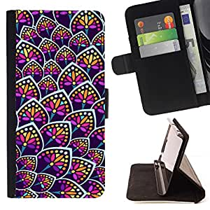 For Samsung Galaxy S3 Mini I8190Samsung Galaxy S3 Mini I8190 Rainbow Floral Colors Purple Pattern Style PU Leather Case Wallet Flip Stand Flap Closure Cover