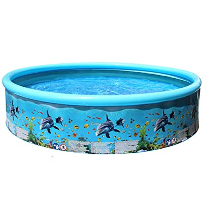 "Lumumi 72"" Inflatable Swimming Pool Large, Kids Family Bath Tub Swimming Pool Backyard Toy: Toys & Games"