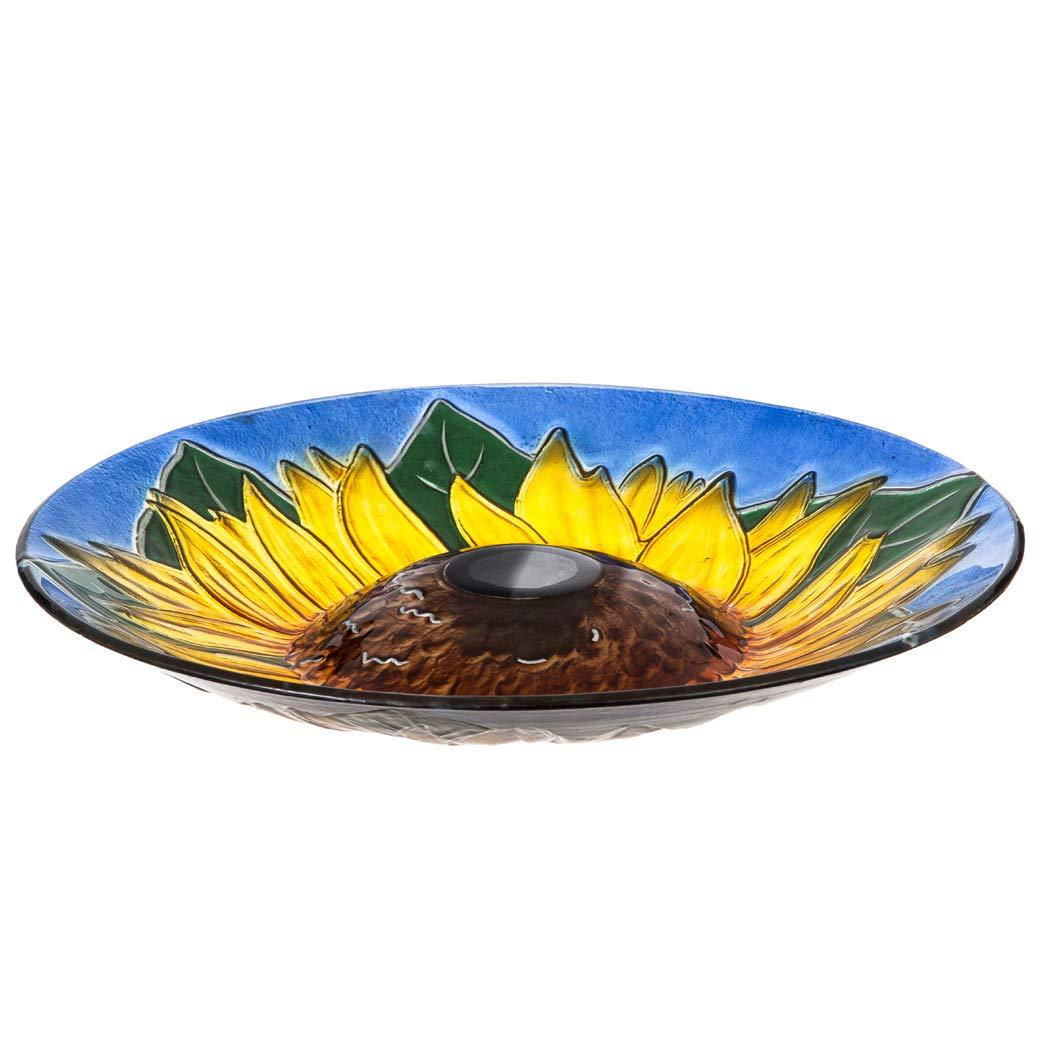 Topadorn 18'' Sunflower Solar Glass Birdbath Garden Decorative Bird Bath