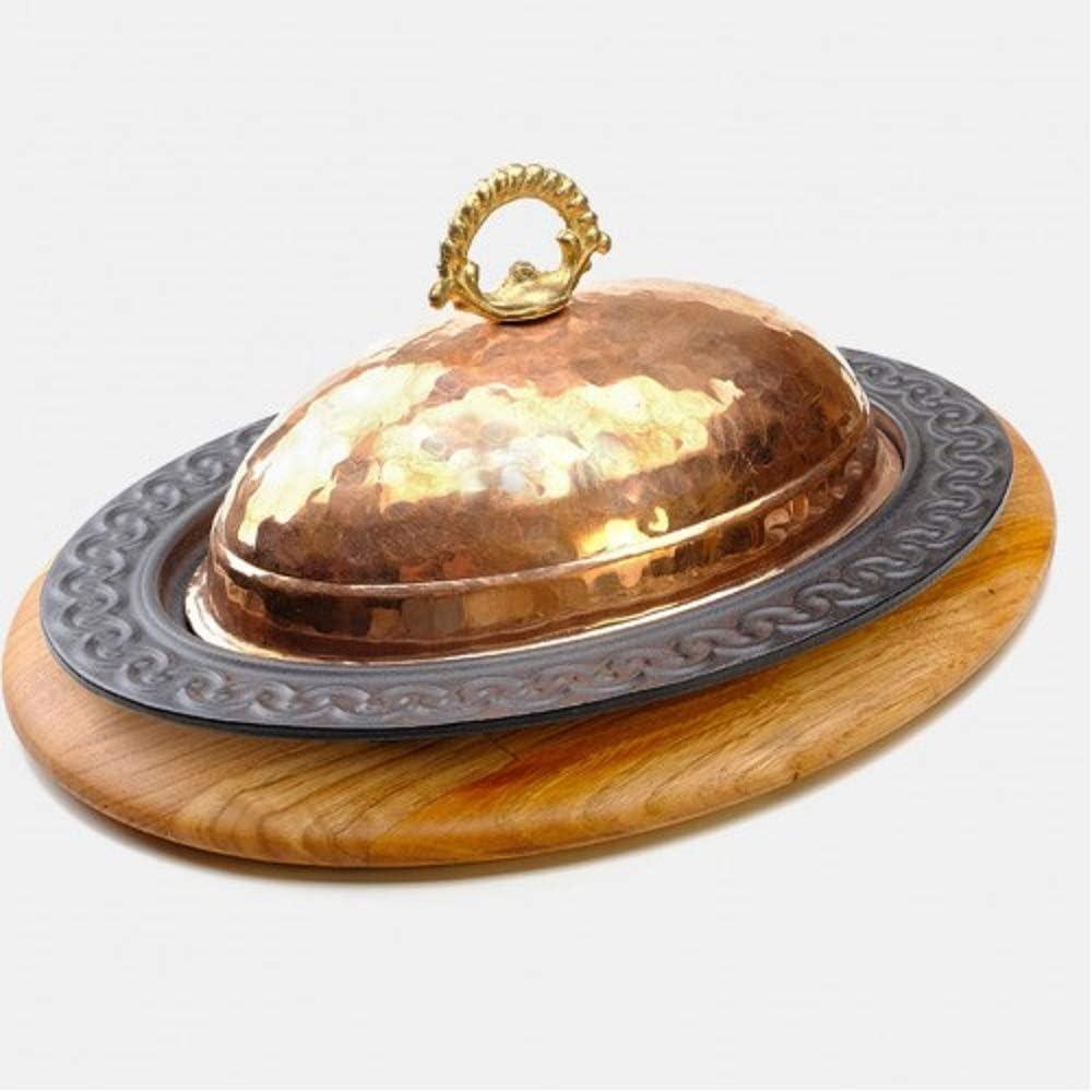 Placa de hierro fundido estilo palacio + base de madera + tapa de cobre + base de alambre calefactor, hierro fundido, ovalado