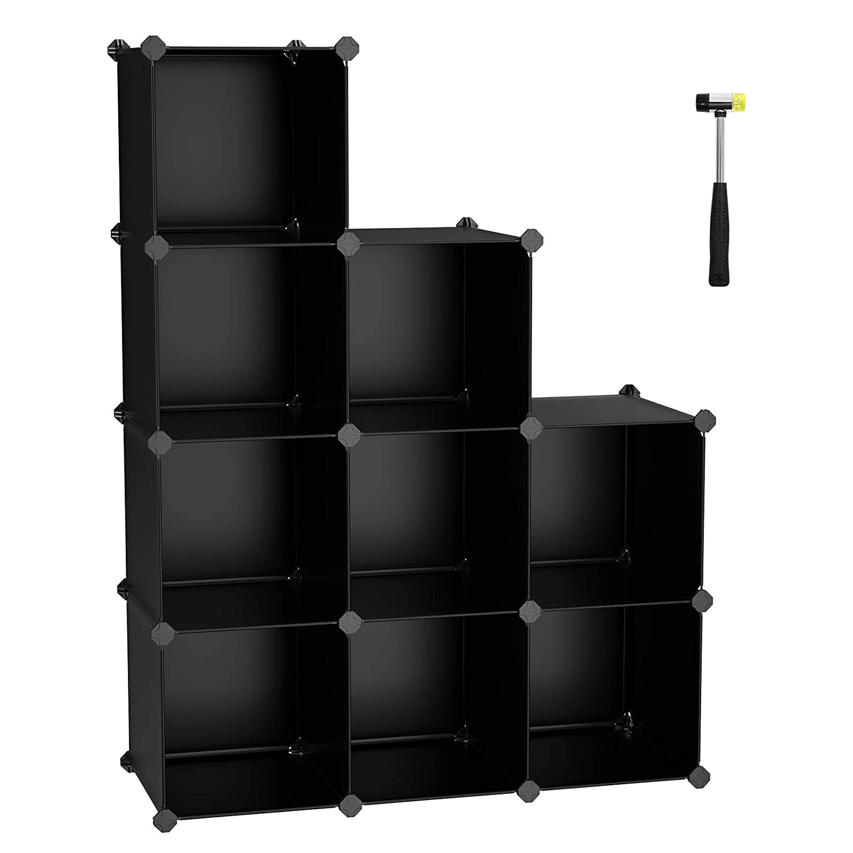 SONGMICS Cube Storage Organizer, 9-Cube Closet Storage Shelves, DIY Plastic Closet Cabinet, Modular Bookcase, Storage Shelving for Bedroom, Living Room, Office, with Rubber Hammer Black ULPC33B