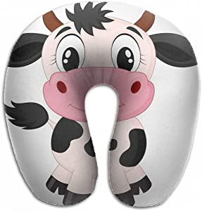 Emvency U-Shaped Travel Neck Support Pillow Cute Cow Cartoon Baby Happy Airplane 12x11.5 Inch Soft U-Pillows with Rebound Material for Kids Adults