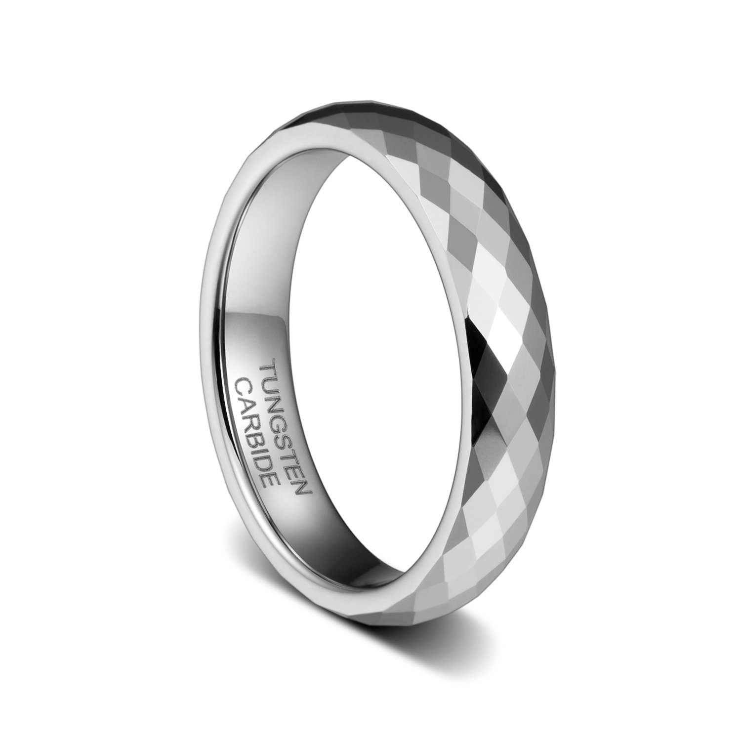 TUSEN JEWELRY 4mm Tungsten Carbide Wedding Band Engagement Rings Multi Faceted High Polish TS-20170703103