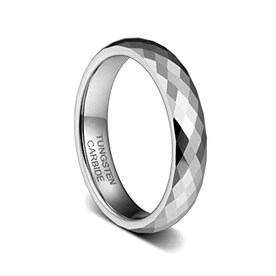 19df676624 TUSEN JEWELRY 4mm Tungsten Carbide Wedding Band Engagement Rings Multi  Faceted High Polish Size:4