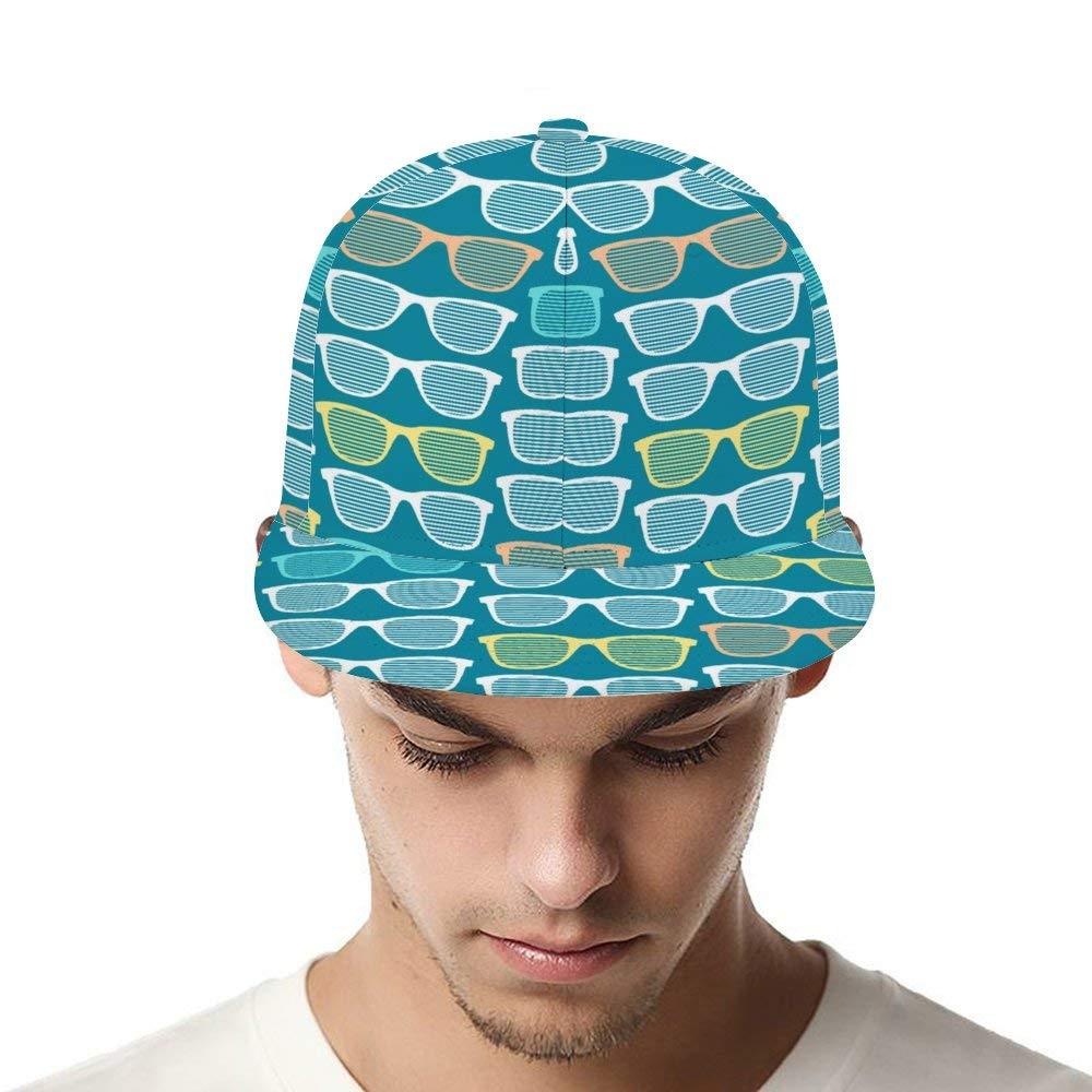 Dongi Retro Striped Sunglasses Seamless Pattern Unisex Full-Print Flat Rubber Ball Cap can Adjust Hip-hop Style
