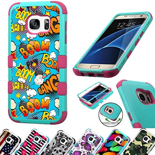 For Samsung Galaxy S7 Edge G935 Case 3-Layer Armor Hybrid Rugged Silicone Phone Cover FancyGuard (Comic Boom Teal/Pink) Sales