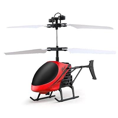Flying Mini RC Infraed helicóptero de inducción Aviones Intermitentes de luz Juguetes para niños (🔥-Rojo): Electrónica