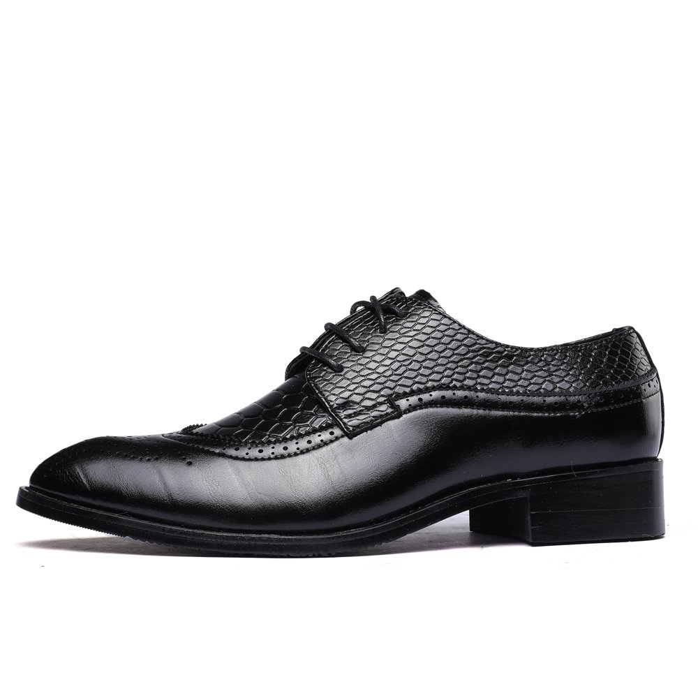 WULFUL Men's Leather Dress Oxfords Shoes Business Retro Gentleman Black 7.5-8 D(M) US by WULFUL (Image #3)