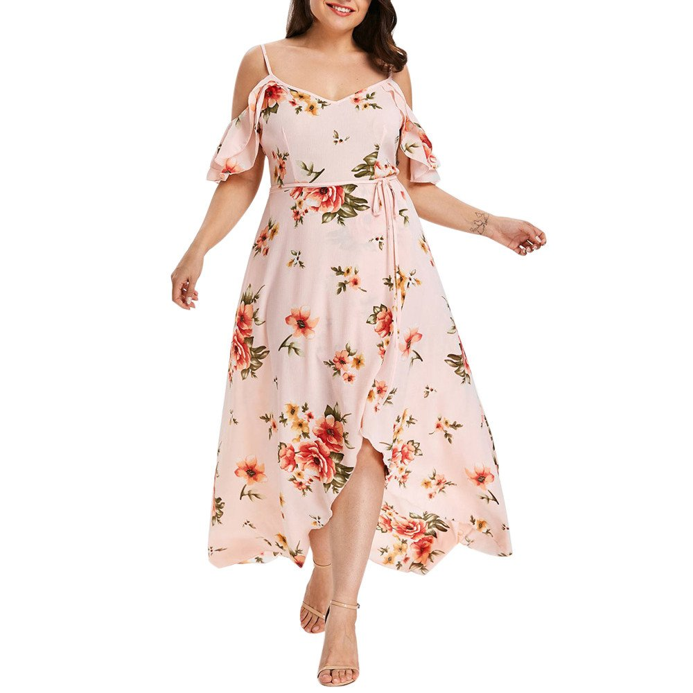 NREALY Falda Womens Plus Size Casual Short Sleeve Cold Shoulder Boho Flower Print Long Dress(5XL, Pink)