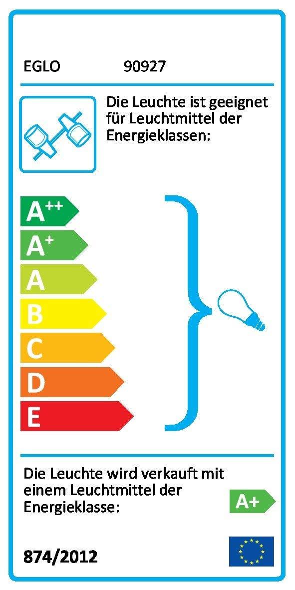 EGLO Wand-Deckenleuchte LED Modell ROTTELO, 6-flammig, Stahl, nickel-matt,chrom, HV 6xGU10 LED 3W, 1080lm, inklusiv Leuchtmittel, L=1160 mm, B=70 mm 90927 E [Energieklasse A+]