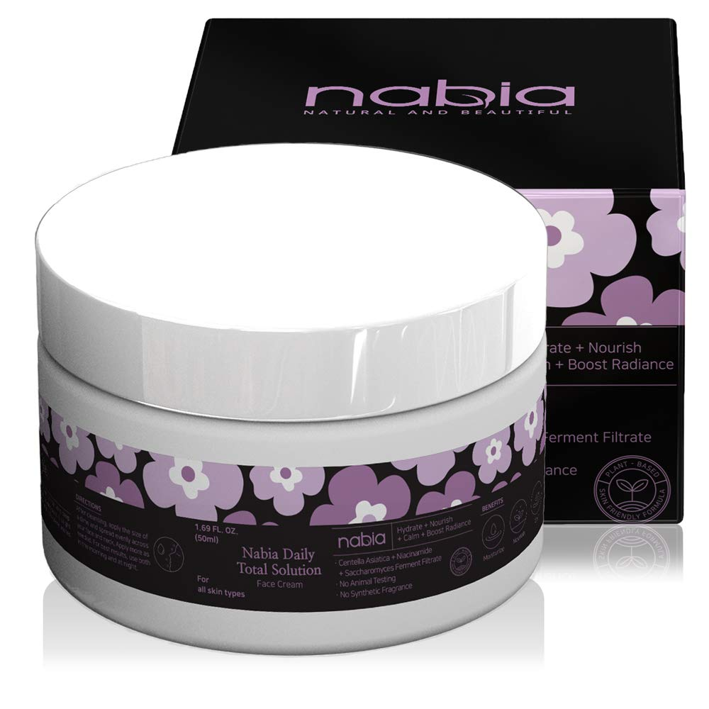 Nabia Moisturizing Face Cream with Cica, Vitamin B3, Hyaluronic Acid, Saccharomyces and Natural Lavender Scent, white, 1.69 Fl Oz