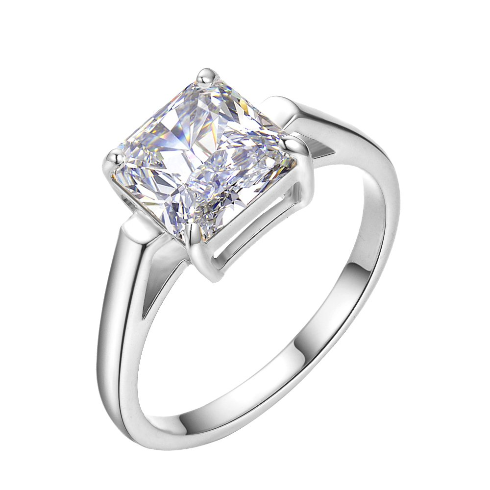 LicLiz Cubic Zironia Solitaire Engagement Ring Princess Cut Cathedral Ring for Women 2.25 Carats Sizes 5 to 9 (White Gold Color, 7)