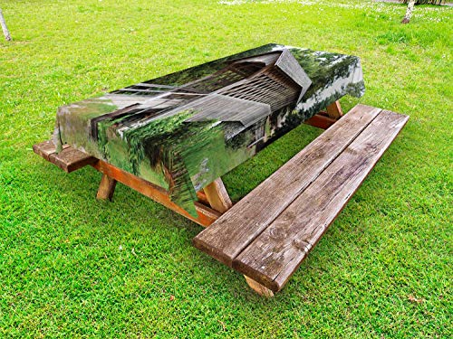 Ambesonne Alabama Outdoor Tablecloth, Old Wooden Bridge Over a Small Stream Passing Through Thick Green Forest Print, Decorative Washable Picnic Table Cloth, 58 X 120 Inches, Multicolor ()