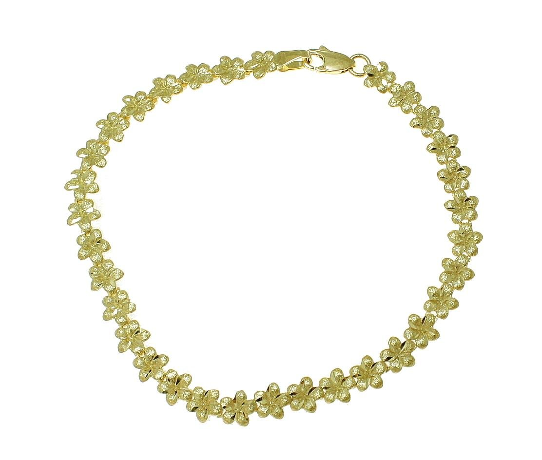 14K solid yellow gold Hawaiian plumeria flower anklet 5.5mm 10''