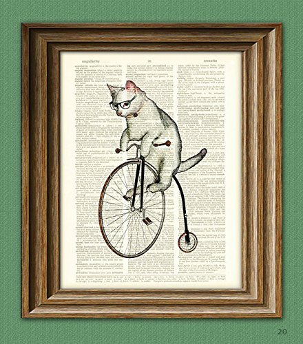 Atticus the Hipster Cat on a Penny Farthing bicycle dictionary page book art print - Penny Art