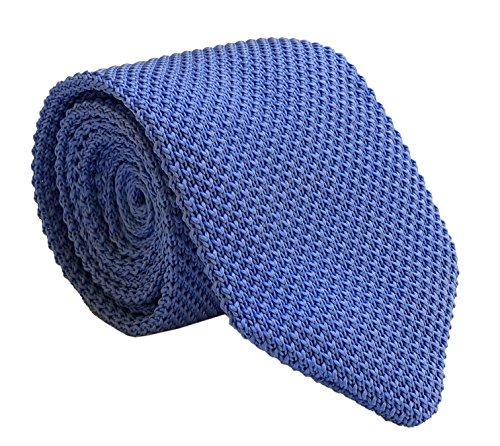 Silk Blue Ties Narrow (Men's Marine Blue Narrow Tie Woven Silk Novelty Extra Long Necktie for Gentleman)