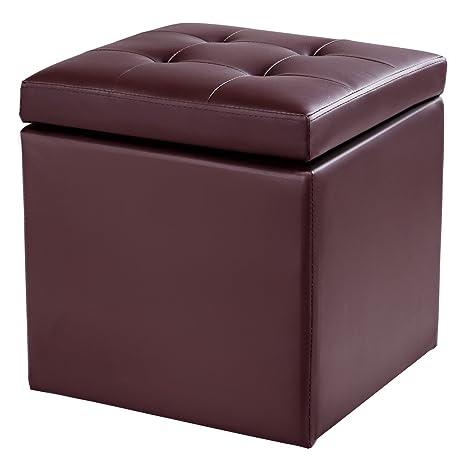 Beau Giantex 16u201d Cube Ottoman Pouffe Storage Box Lounge Seat Footstools With  Hinge Top Home Living