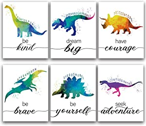 "CHIEN-CHI LILI Dinosaur Bedroom Cool Watercolor Inspirational Words Woodland Art Prints Set of 6 (8""X10""), Lovely Roar Name Word Wall Art Poster for Nursery, Boys, Son, Kids Room Home Decor, No Frame"