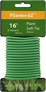 PGarden-EZ Green Soft Twist Tie Plant Tie Flexible TPR Garden Supply, for Tomatoes Roses Vines Organizing(16.4 feet/ 5 Meters)