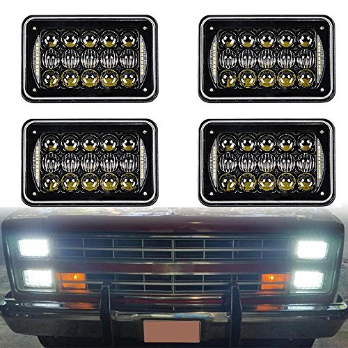 2019 DOT Approved 60w 4x6 inch LED Headlights Rectangular Replacement H4651 H4652 H4656 H4666 H6545 with DRL for Peterbil Kenworth Freightinger Ford Probe Chevrolet Oldsmobile Cutlass(black,4pcs)