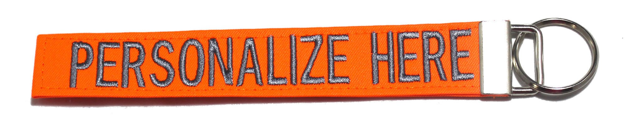 Northern Safari Personalized Military Name Tapes Logo Key Chain/LUGGAGE and/or CRATE tags, Neon Orange, 6'' Logo Keychain by Northern Safari