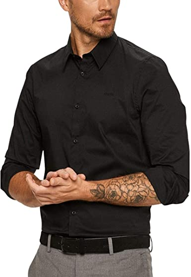 Guess Camisa LS Sunset para hombre, color negro: Amazon.es: Ropa
