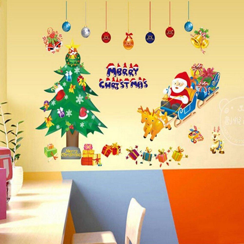 Amazon.com: WTD Merry Christmas Santa Claus Christmas Tree Christmas ...