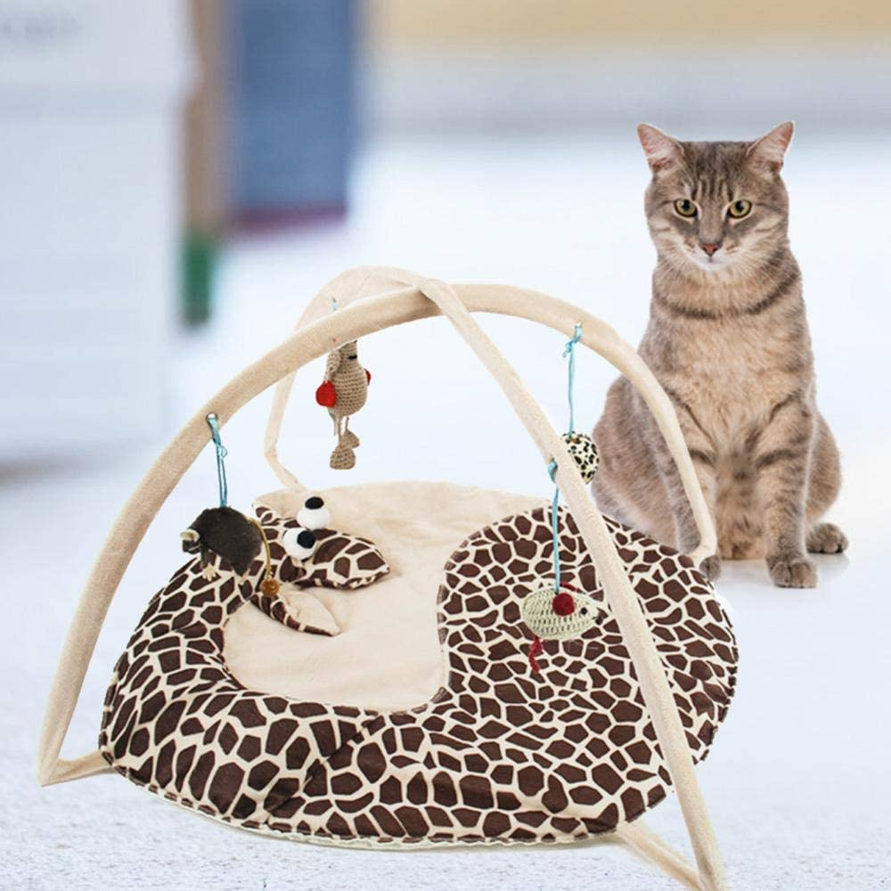 Foonee Foldable Cat Tent Bed with Hanging Toys to Exercise and Keep Pet Active Random Pendants Cat Play Mat Cat Activity Center Happy Playing Pad