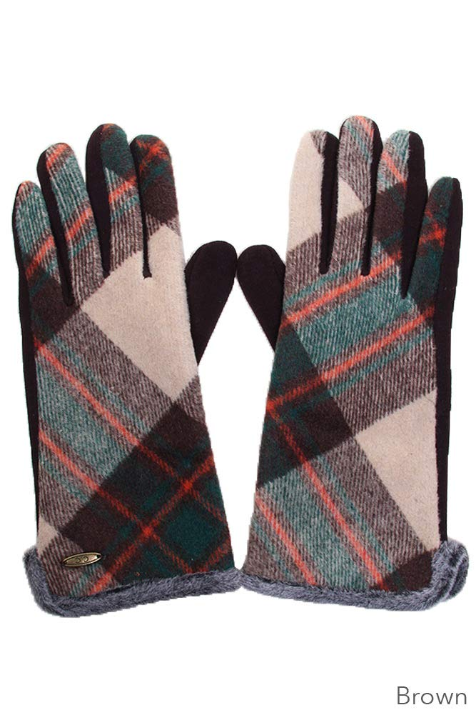 ScarvesMe CC Plaid Pattern with Smart Touch Tips Gloves (Brown)