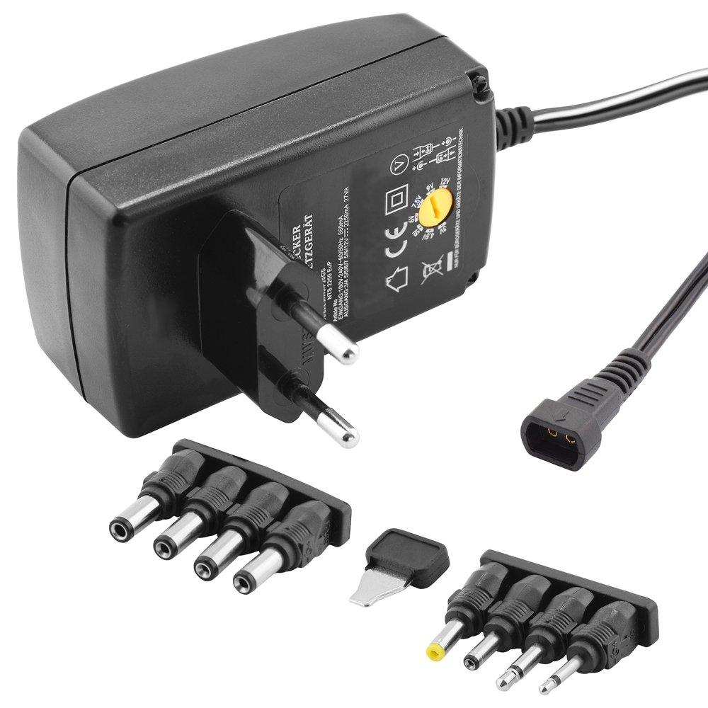 stabilisée Chargeur Bloc d'Alimentation Universel avec différents adaptateurs pour appareils jusqu'à 2250mA / entrée 230V / Sortie 34, 567, 5912V DC / Noir (modèle amélioré v2.91) BestPlug 8-NETZ-TEIL-8