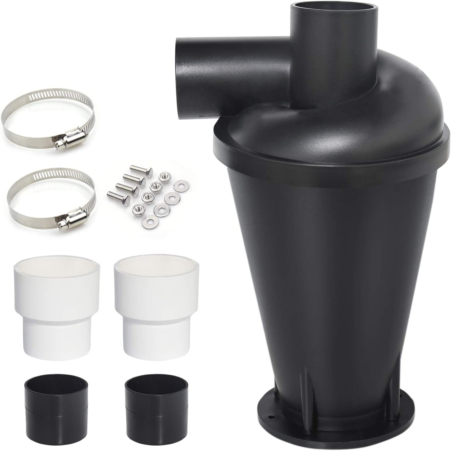 Senneny Dust Collector Cyclone Separator Dust Collection Kit System for Woodworking Shop Vac Workshop (Black)