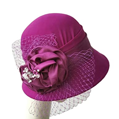 Women s Wool Felt Hat Ladies church Bowler Hats with Flower 4 Colors at Amazon  Women s Clothing store  2997f108db4d