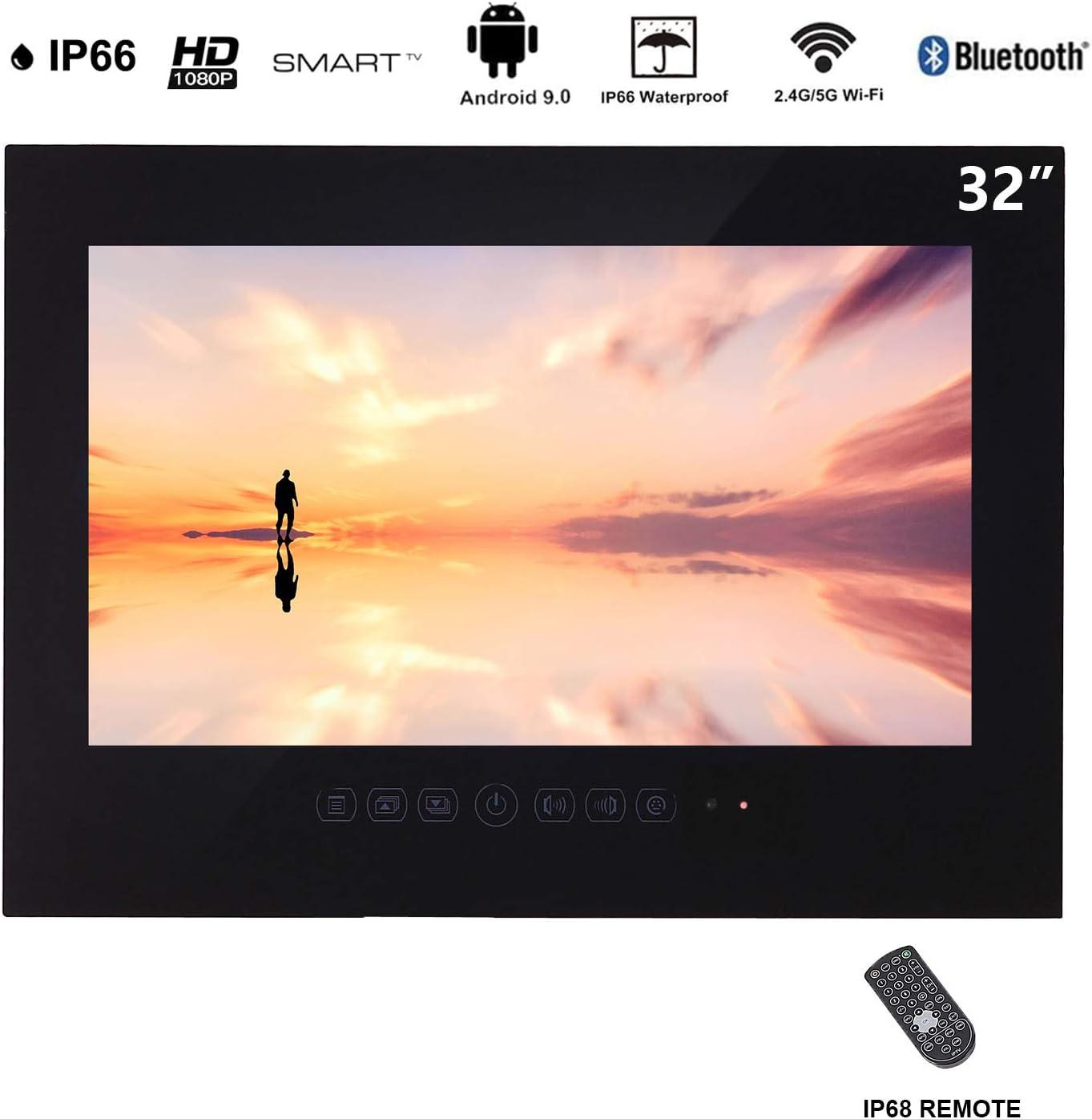 Haocrown Smart TV LED para baño IP66 Sistema Android a Prueba de Agua Pantalla táctil Televisor con Wi-Fi Incorporado (32 Pulgadas, Negro): Amazon.es: Electrónica