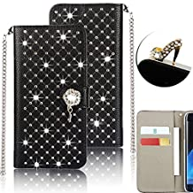 Galaxy S4 Case,Vandot Luxury Diamond Bling Sparkle Crystal Rhinestone Wallet Case PU leather Magnetic Kickstand Flip Folio Stand Rose Cover Skin For Samsung Galaxy S4 I9500+Anti Dust Plug-Black