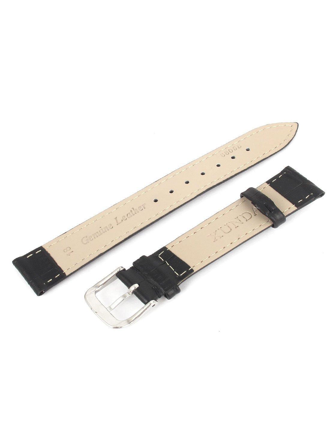 Amazon.com: eDealMax 18MM Ancho Negro de Cuero de imitación Individual mediante Hebilla de reloj de pulsera Band: Electronics